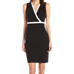 Calvin Klein Sleeveless V-Neck Sheath Dress